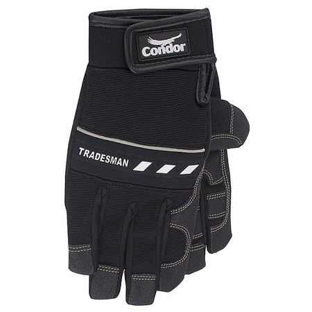Mechanics Gloves, Full Finger, Black, M, PR