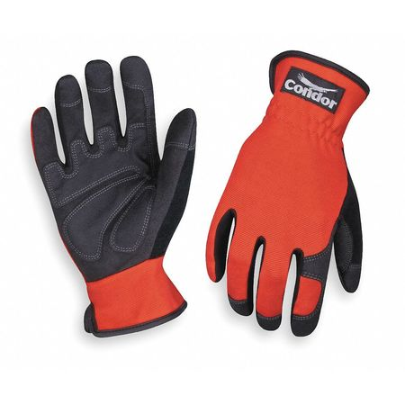 Mechanics Gloves, Spandex, Blk/Red, 2XL, PR