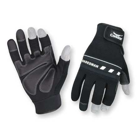 Mechanics Gloves, 3-Finger, Black, 2XL, PR