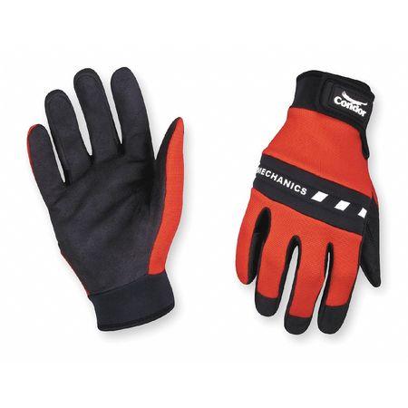 Mechanics Gloves, Hook/Loop, Red/Blk, S, PR