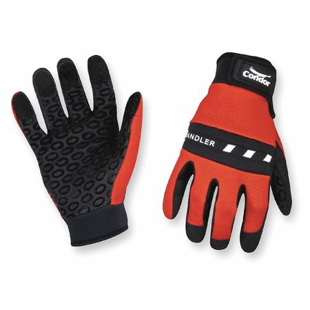 Mechanics Gloves, Silicone, Red/Blk, M, PR