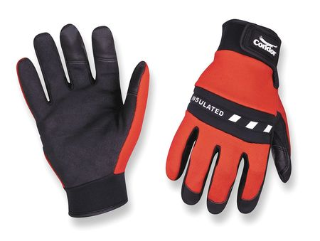 Cold Protection Gloves, L, Red/Black, PR