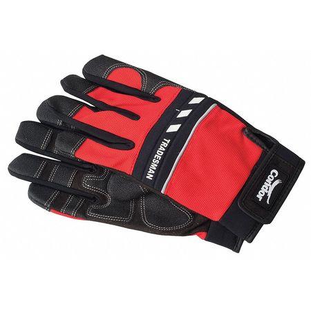 Mechanics Gloves, Full Fngr, Blk/Red, M, PR