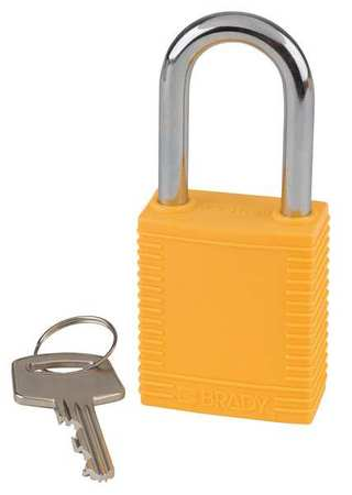 "Lockout Padlock, KD, Yellow, 1-3/4""H, PK6"