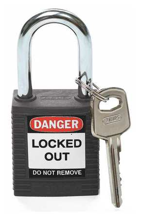 "Lockout Padlock, KD, Black, 1-3/4""H"