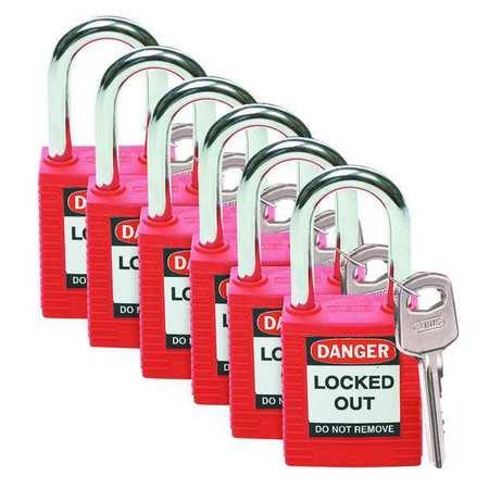 """Lockout Padlock, KD, Red, 1-3/4""""H, PK6"""