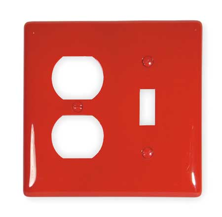 Toggle Switch/Duplex Plate, 2 Gang, Red