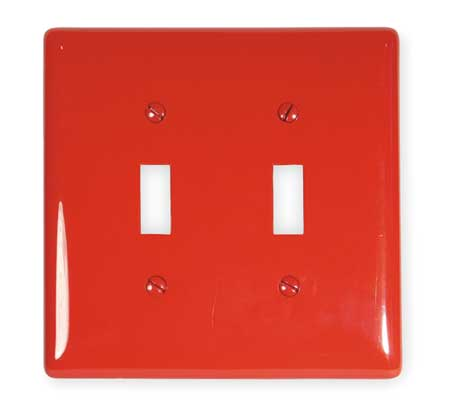 Toggle Switch Wall Plate, 2 Gang, Red