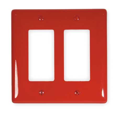 Rocker Wall Plate, 2 Gang, Red