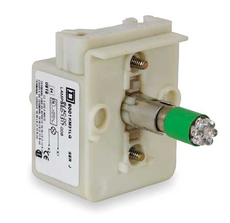 Lamp Module, 30mm, 208-220V, Green, LED