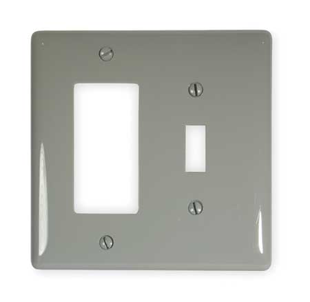 Toggle Switch/Rocker Plate, 2 Gang, Gray