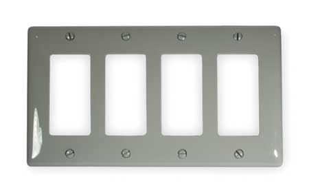Rocker Wall Plate, 4 Gang, Gray