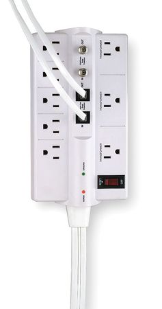 Datacom Surge Protector, 8 Outlet, White