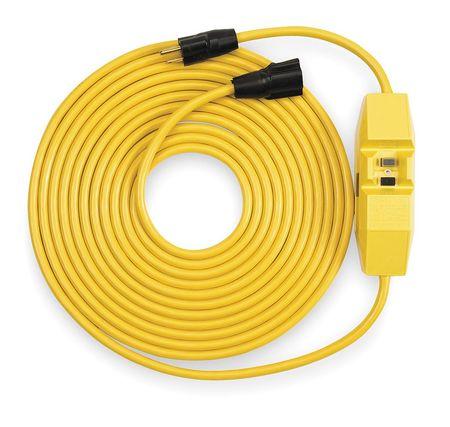 Line Cord GFCI, 25 ft., Ylw, 15A, Rainproof