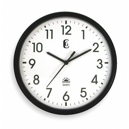 "13-1/2"" Analog Quartz DST Wall Clock,  Black"