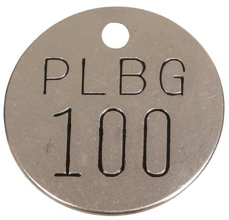 Numbered Tag, 1-1/2 In., 76-100, PK25