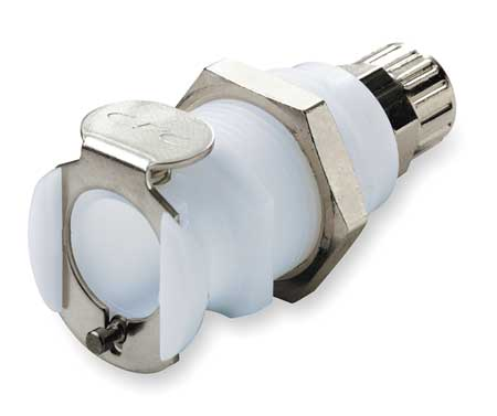 Panel Mount Coupler, Acetal, Shut-Off, PTF,  Min. Qty 25