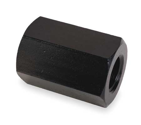 "3/8""-16 Dia. x 1"" L x 11/16"" W Grade 5 Steel Black Oxide Finish Coupling Nut"