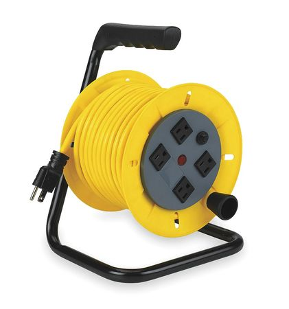 Cord Reel, Manual, 14/3, 40Ft, Yellow, 120VAC