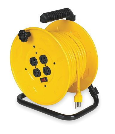 Cord Reel, Manual, 14/3, 80Ft, Yellow, 120VAC