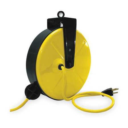Cord Reel, Single Outlet, 14/3, 30Ft, Yellow