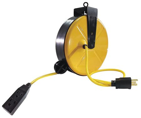 Cord Reel, Three Outlet, 14/3, 30Ft, Yellow
