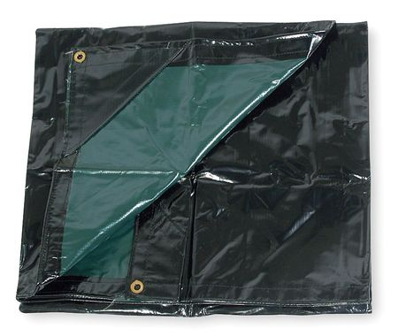 Tarp, Nylon, Vinyl Lam, Black/Green, 6x10Ft