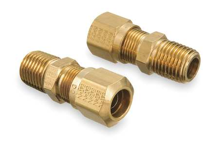 Male Connector, 1/2-14, 3/8 In Tube Sz