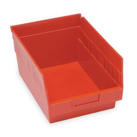 Shelf Bin, 17-7/8 In. L, 6 In. H, Red