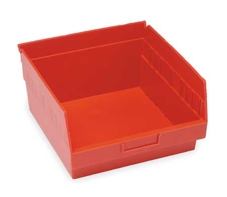 Shelf Bin, 11-5/8 In. L, 6 In. H, Red