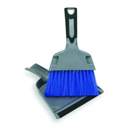 Dust Pan w/Brush, Black, Polypropylene