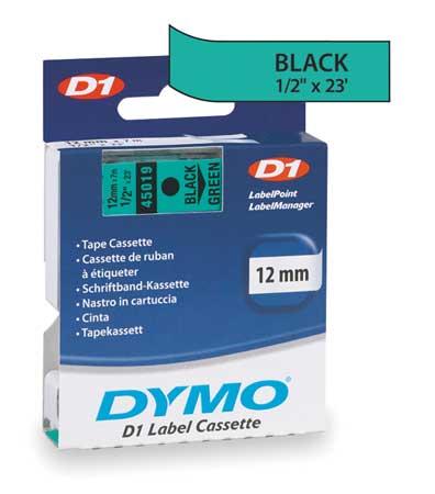 "Adhesive Label Tape Cartridge 1/2"" x 23 ft.,  Black/Green"