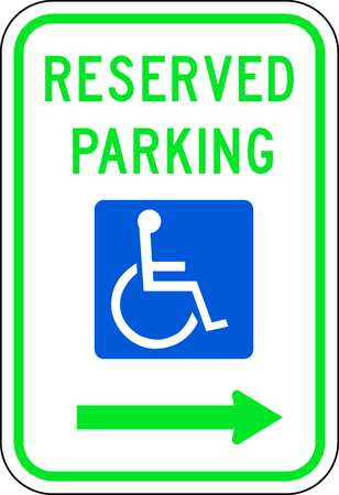 Parking Sign, 18 x 12In, GRN and BL/WHT
