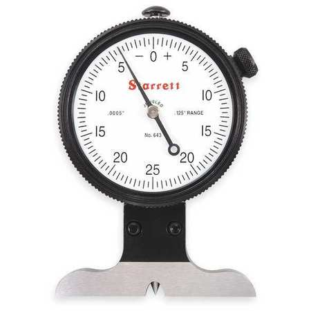 Dial Depth Gage, 1/8 In, 2 1/2 In Base
