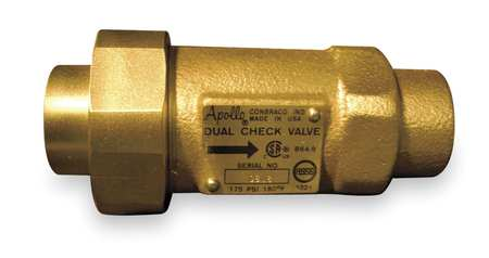 Dual Check Valve, 1 In, FNPT x MNPT, Bronze