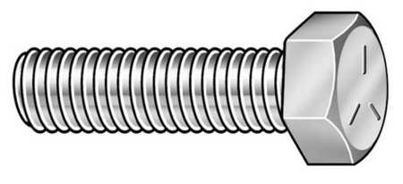 "1/4""-28 x 1"" Grade 5 Zinc Plated UNC (Coarse) Hex Head Cap Screws,  100 pk."