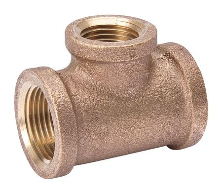 Reducing Tee, 1 1/2 x 1 1/2 x 1 In, Brass