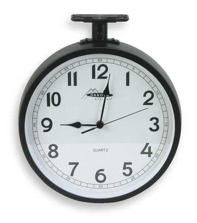 """11-5/8"""" Analog Quartz Double Sided Clock,  Black"""