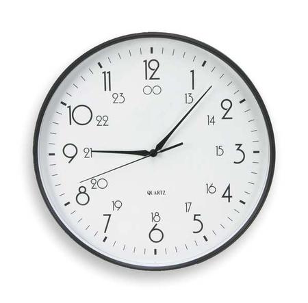 "12"" Analog Quartz Wall Clock,  Black"