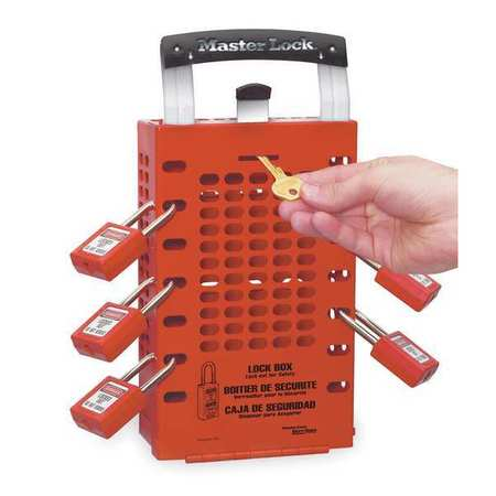 Group Lockout Box, 14 Locks Max, Red