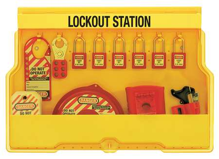 Lockout Station, 6 Thermoplastic Padlocks