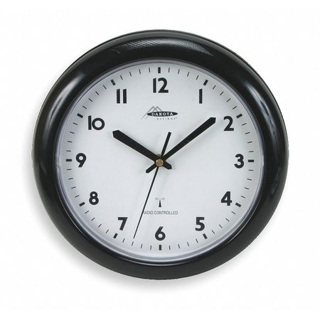 "10"" Analog Quartz Atomic Wall Clock,  Black"