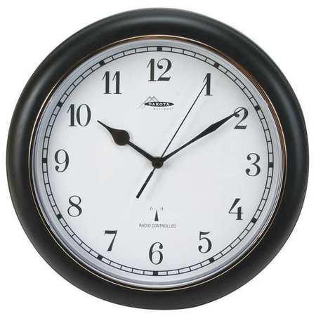 "12-1/8"" Analog Quartz Atomic Wall Clock,  Black"