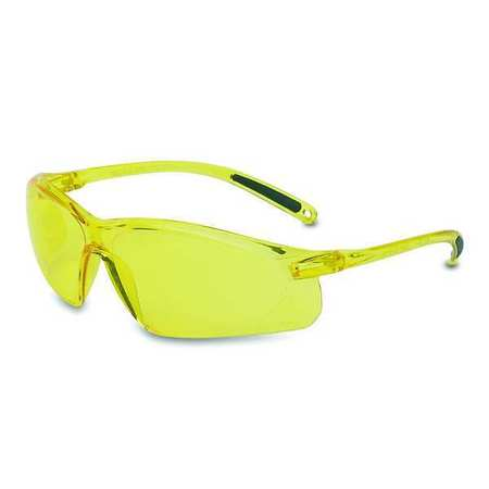 2CVG8 Safety Glasses, Amber, Scratch-Resistant