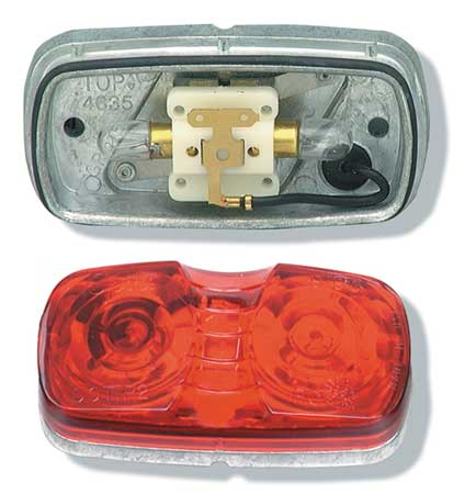 Lamp, Square Corner, 2 Bulb, Die Cast, Red