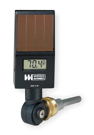 Digital Solar Powered Thermometer, Black