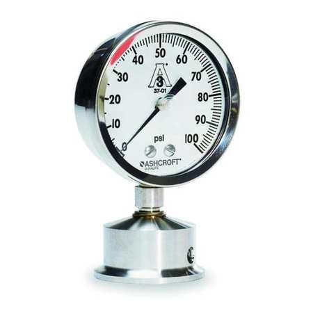 Pressure Gauge, 0 to 30 psi, 3-1/2In, 2In
