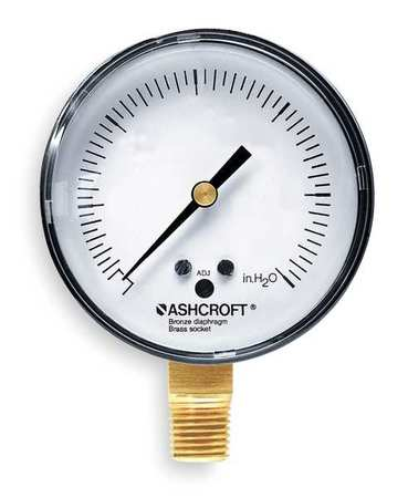 Pressure Gauge, 0 to 5 psi, 2-1/2In, 1/4In