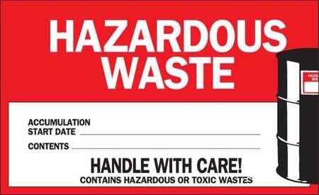 Hazardous Waste Label, 4x6, PK50