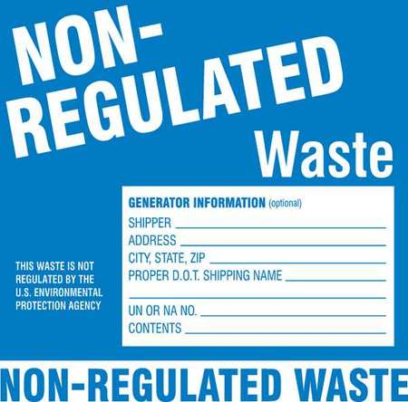 Hazardous Waste Label, 6 In. H, PK50
